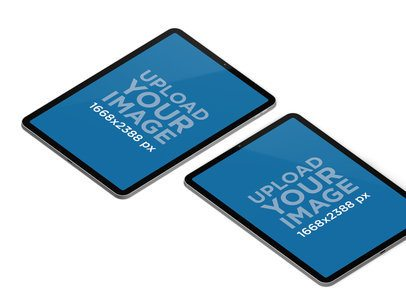 Mockup of Two iPad Pros in Portrait Mode 84-el