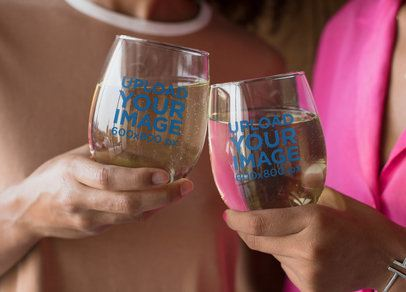 Mockup of Two Stemless Wine Glasses Clinking 27949