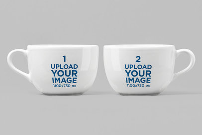 Mockup of Two 24 oz Porcelain Mugs 28260