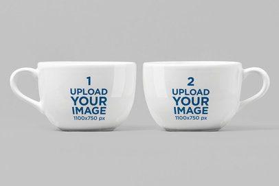 Mockup of Two 24 oz Porcelain Mugs 28260