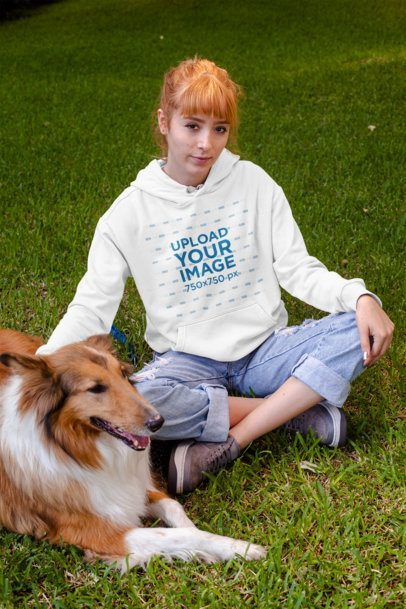 Pullover Hoodie Mockup of a Woman with Her Dog 28043