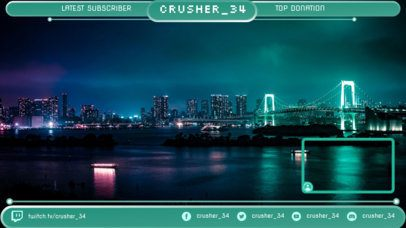 Twitch Overlay Maker Featuring a Live Cam Panel with a Night Skyline 1251c