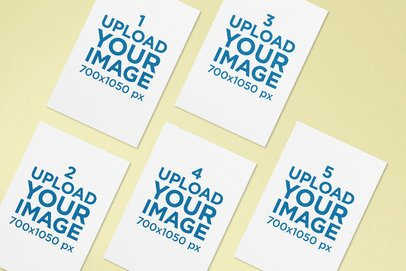 Mockup of an A4 Letterhead Pack Lying over a Solid Surface 174-el