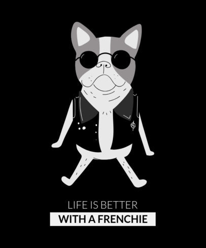 T-Shirt Design Template Featuring a Cool French Bulldog 1512a