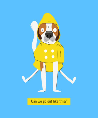 T-Shirt Design Maker Featuring a Dog Wearing a Raincoat 1512c