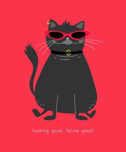 Smiling Black Cat T-Shirt Design Generator 1512d