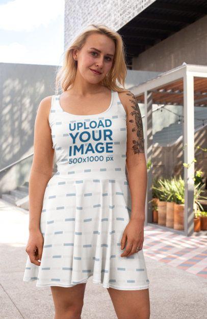 Skater Dress Mockup of a Tattooed Woman 27995