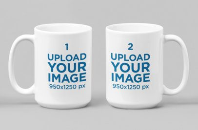 Mockup of Two 15 Oz Coffee Mugs Positioned Side by Side 28265