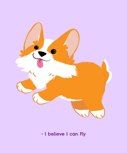 T-Shirt Design Template with a Funny Corgi 1514a