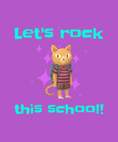 First Day of School T-Shirt Design Maker with a Kitten Clipart 1520h