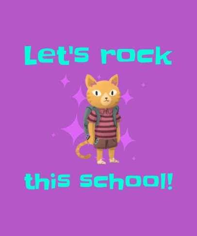 First Day of School T-Shirt Design Maker with a Kitten Clipart 1520h