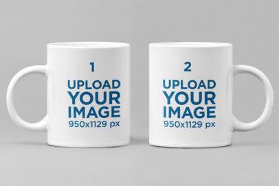 Minimal Mockup Featuring Two 11 oz Coffee Mugs Against a Plain Backdrop 28267