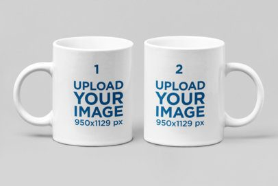 Mockup of Two 11 oz Coffee Mugs Side by Side 28264
