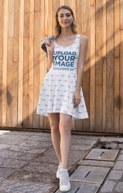 Skater Dress Mockup of a Woman Posing Outside 27988