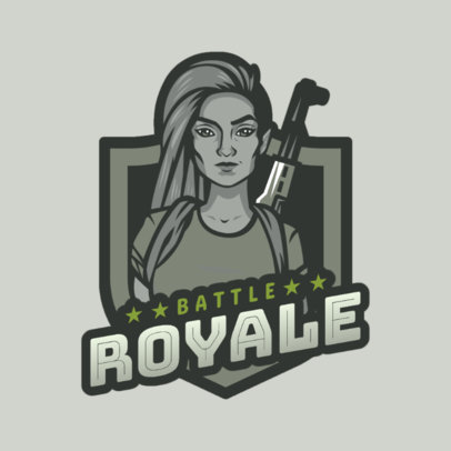 Battle Royale Game Logo Maker of a Fierce Woman 1847h