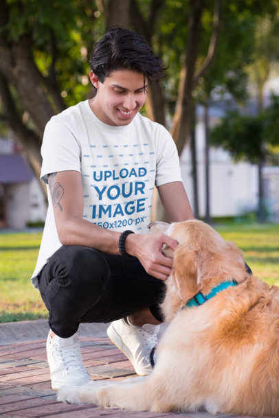 T-Shirt Mockup Featuring a Young Man with a Dog 28054