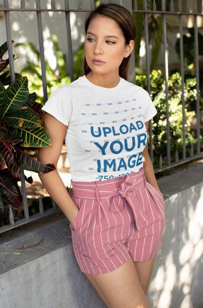 T-Shirt Mockup Featuring a Woman Wearing Striped Shorts 28195