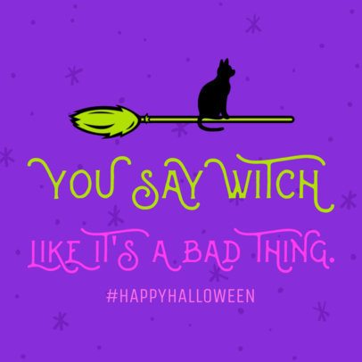 Cool Halloween Social Media Post Template with a Witch's Broom Clipart  584i