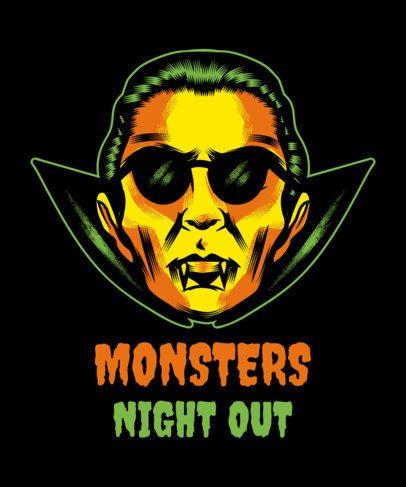 Halloween T-Shirt Design Maker Featuring a Dracula Clipart 1567