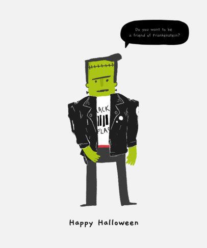 Halloween T-Shirt Design Maker Featuring a Frankenstein Clipart 1565