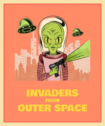 Halloween T-Shirt Design Featuring Alien Invaders 1569
