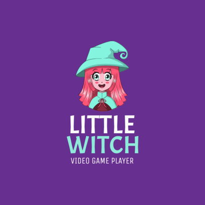 Gaming Logo Maker with a Happy Anime-Styled Witch Clipart 2294