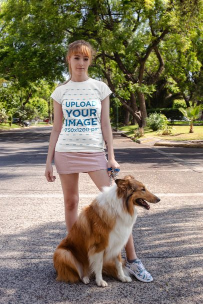 T-Shirt Mockup Featuring a Woman Taking Her Dog for a Walk 28048