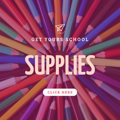 Back to School Online Banner Template with Colorful Pencils 754j