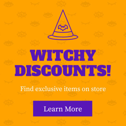 Witchy Discounts Halloween Ad Banner Maker 16614k