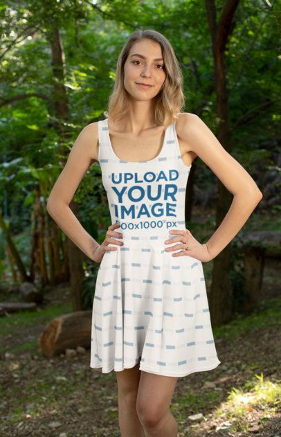 Dress Mockup of a Woman in the Woods 27979