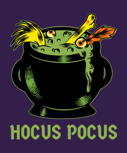 Halloween T-Shirt Design Maker Featuring a Creepy Witch's Cauldron 1567g