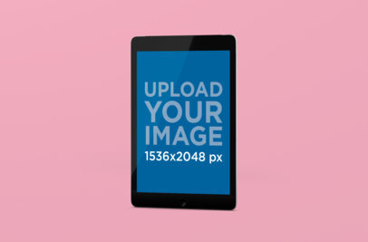 Minimalistic Mockup Featuring an iPad in Portrait Position Standing Against a Plain Backdrop 154-el