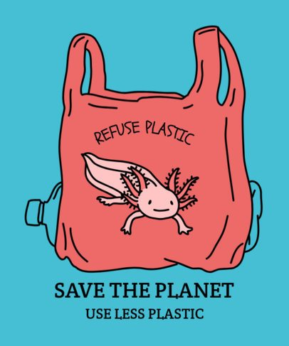 Save the Planet T-Shirt Design Template with a Smiling Axolotl 1559a