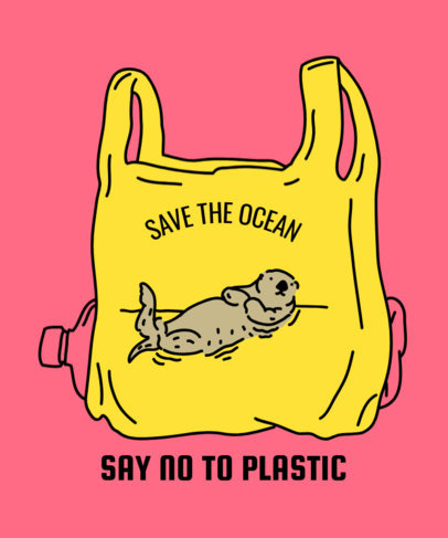 Ocean Rescue T-Shirt Design Maker Featuring an Otter in a Plastic Bag 1559c