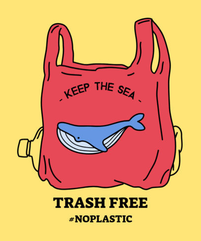 Environmental Awareness T-Shirt Design Maker Featuring a Whale in a Plastic Bag 1559h