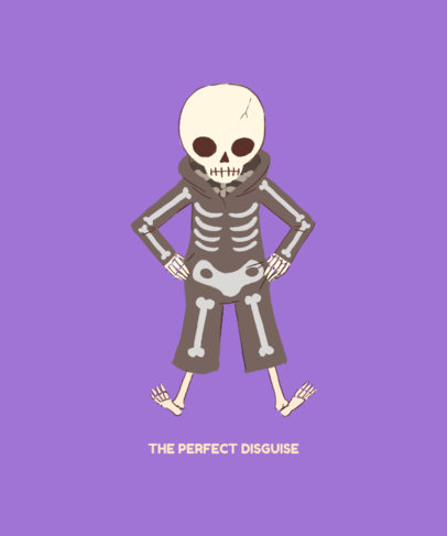 Funny T-Shirt Design Maker with a Skeleton Wearing a Halloween Costume 1565g