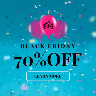 Black Friday Banner Template with Balloons 749a