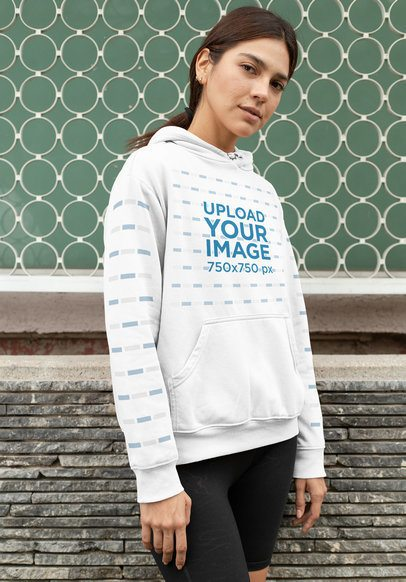 Pullover Hoodie Mockup of a Woman Wearing Black Yoga Shorts 28304