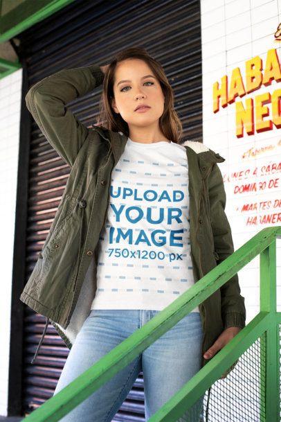 T-Shirt Mockup of a Woman Wearing a Green Jacket 28204