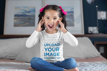 Long Sleeve T-Shirt Mockup of a Kid with a Surprised Face 28083