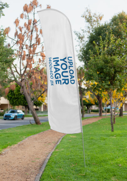 Mockup of a Flag Banner on a Running Path 28019
