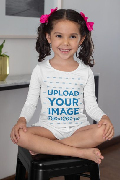 Long Sleeve T-Shirt Mockup Featuring a Little Girl with Bows 28089