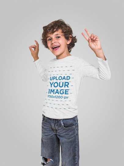 Mockup of a Happy Boy Wearing a Long Sleeve T-Shirt 28115