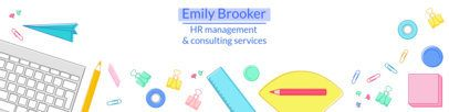 LinkedIn Cover Template with Office Supplies Illustrations 1595