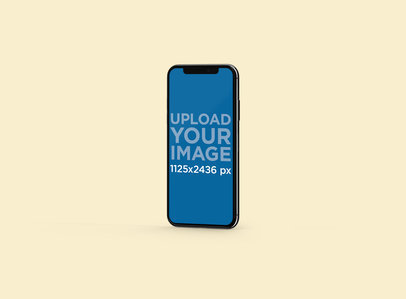 Mockup Featuring an iPhone X Standing Against a Minimal Background 127-el