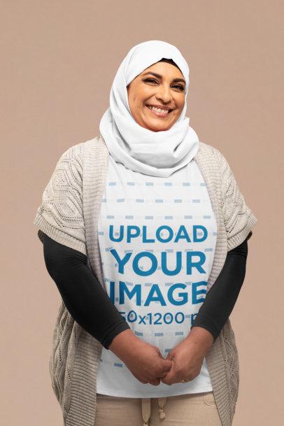 Shirt Mockup of a Smiling Woman Wearing a Hijab 28281