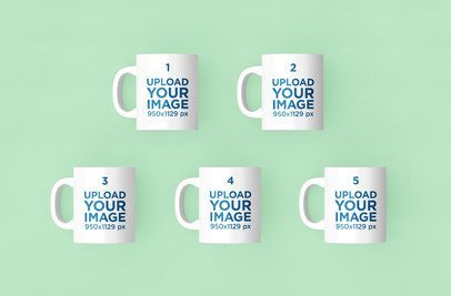 Render Mockup of Five 11 oz Coffee Mugs Over a Solid Color Background 204-el