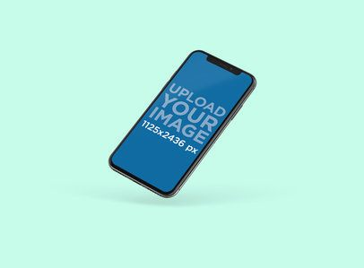 Minimal iPhone X Mockup Featuring a Solid Color Backdrop 128-el