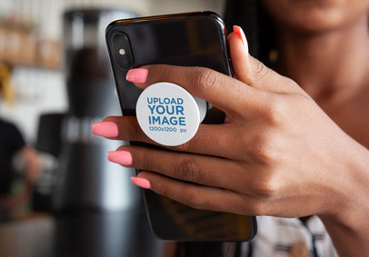 Phone Grip Mockup of a Woman Holding a Phone 28164