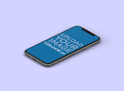Mockup of an iPhone X Lying in a Color-Customizable Backdrop 130-el